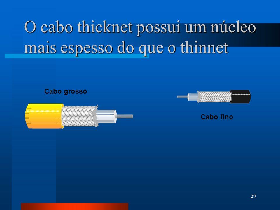O cabo thicknet possui um núcleo mais espesso do que o thinnet