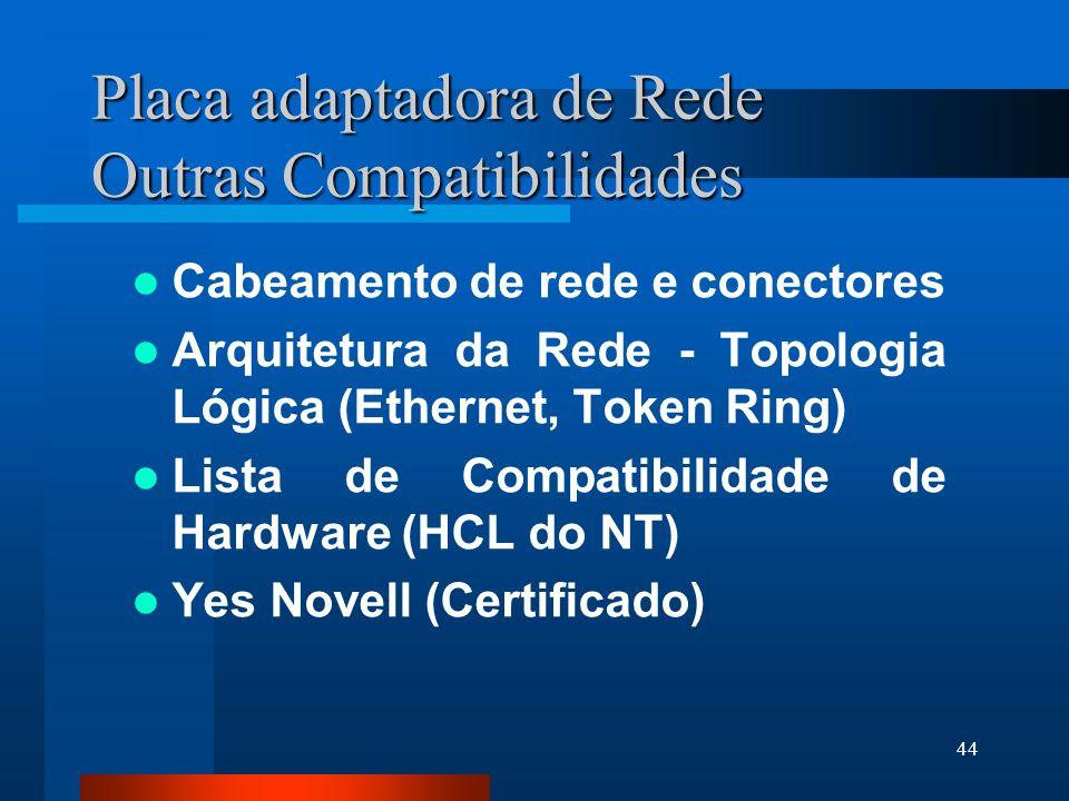 Placa adaptadora de Rede Outras Compatibilidades