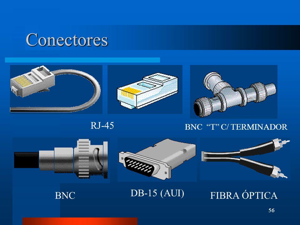 Conectores RJ-45 BNC T C/ TERMINADOR DB-15 (AUI) BNC FIBRA ÓPTICA