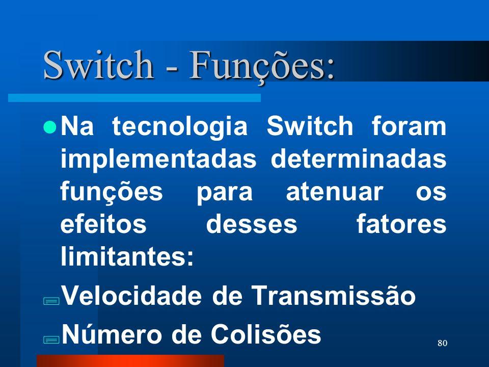 Switch - Funções: Na tecnologia Switch foram implementadas determinadas funções para atenuar os efeitos desses fatores limitantes: