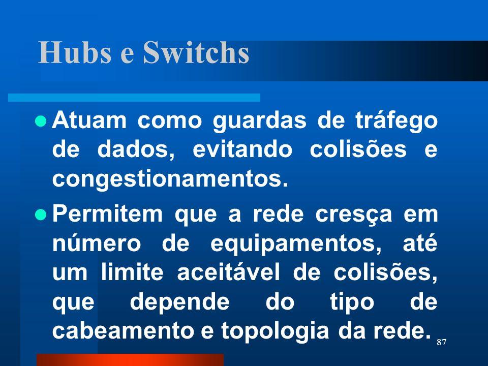 Hubs e SwitchsAtuam como guardas de tráfego de dados, evitando colisões e congestionamentos.