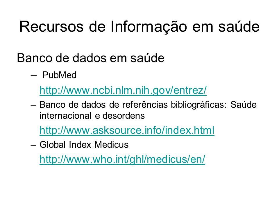 Recursos de Informação em saúde