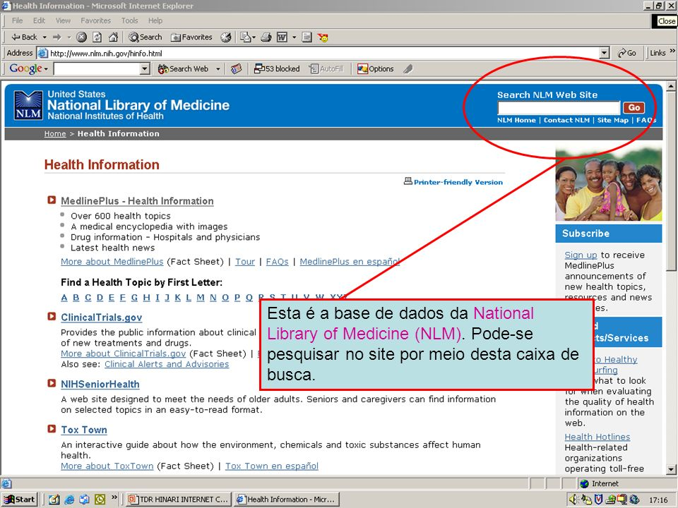 Searching within the NLM website