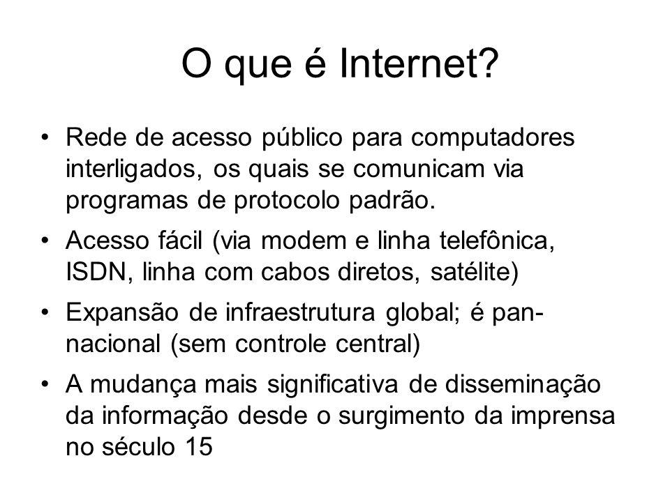 O que é Internet Rede de acesso público para computadores interligados, os quais se comunicam via programas de protocolo padrão.