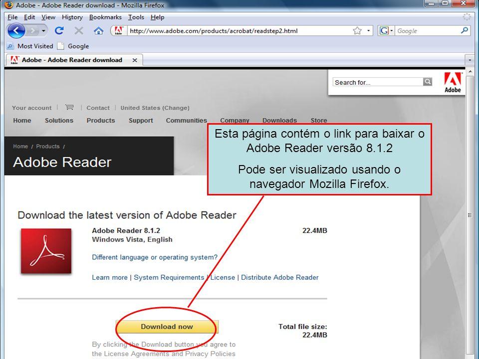 Esta página contém o link para baixar o Adobe Reader versão 8.1.2