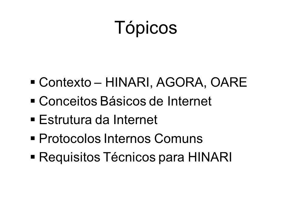 Tópicos Contexto – HINARI, AGORA, OARE Conceitos Básicos de Internet