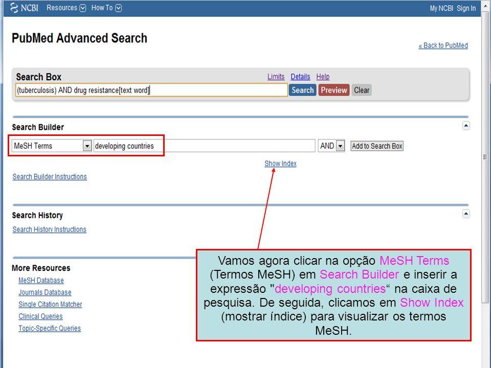 Vamos agora clicar na opção MeSH Terms (Termos MeSH) em Search Builder e inserir a expressão developing countries na caixa de pesquisa.