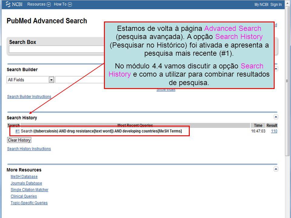 Estamos de volta à página Advanced Search (pesquisa avançada)