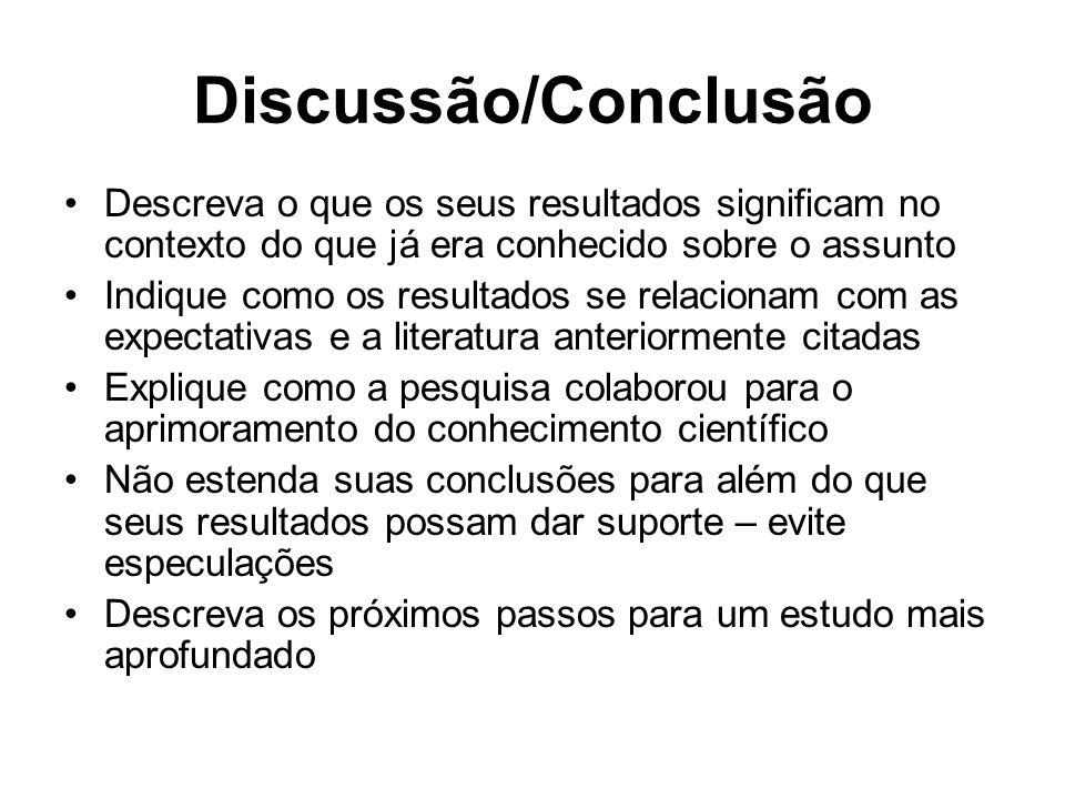 Discussão/ConclusãoDescreva o que os seus resultados significam no contexto do que já era conhecido sobre o assunto.