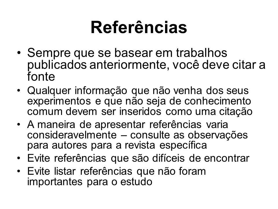 ReferênciasSempre que se basear em trabalhos publicados anteriormente, você deve citar a fonte.