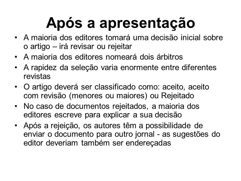 Após a apresentaçãoA maioria dos editores tomará uma decisão inicial sobre o artigo – irá revisar ou rejeitar.