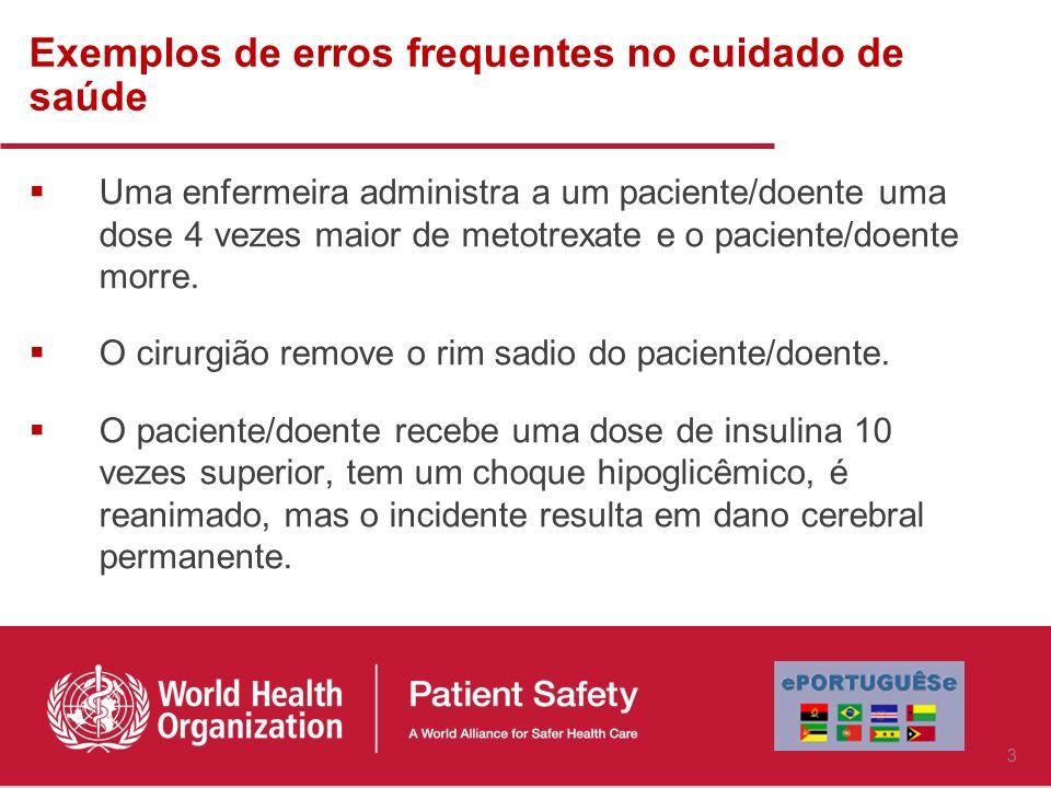 Exemplos de erros frequentes no cuidado de saúde