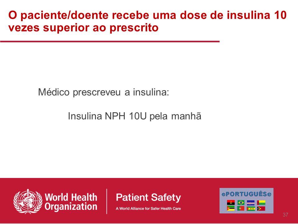 O paciente/doente recebe uma dose de insulina 10 vezes superior ao prescrito