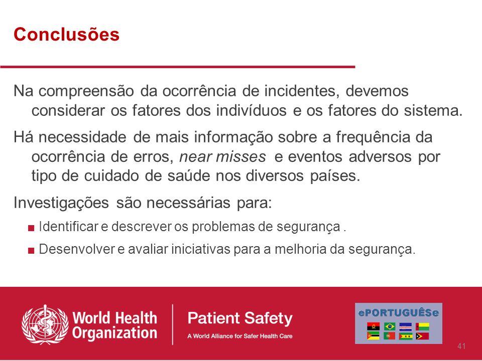 ConclusõesNa compreensão da ocorrência de incidentes, devemos considerar os fatores dos indivíduos e os fatores do sistema.