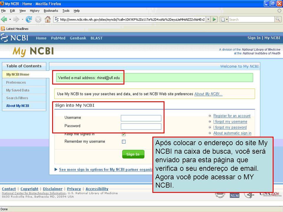 Após colocar o endereço do site My NCBI na caixa de busca, você será enviado para esta página que verifica o seu endereço de email.