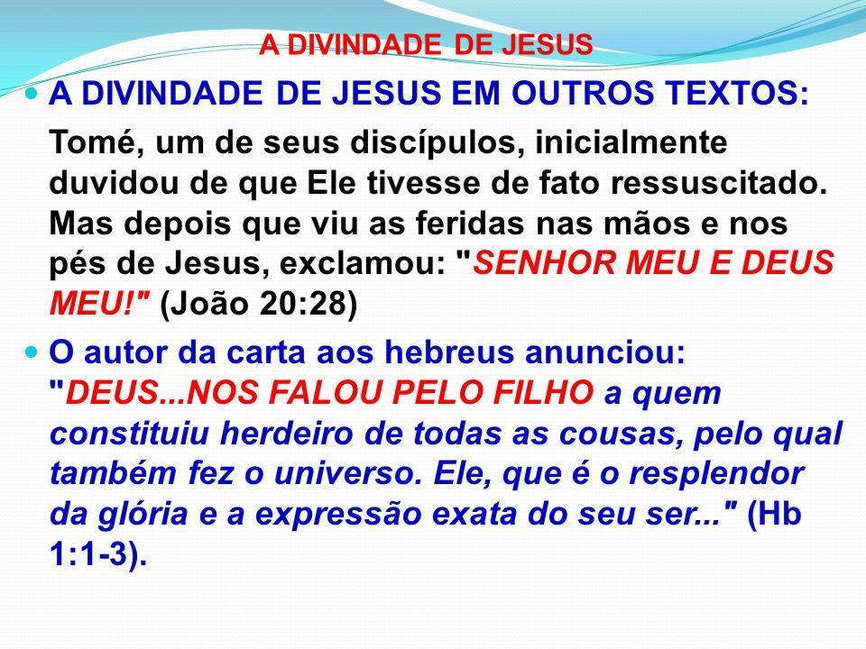 A DIVINDADE DE JESUS EM OUTROS TEXTOS: