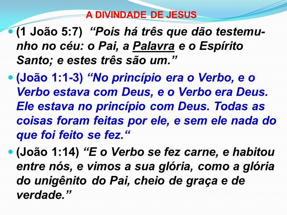 A DIVINDADE DE JESUS (1 João 5:7) Pois há três que dão testemu-nho no céu: o Pai, a Palavra e o Espírito Santo; e estes três são um.