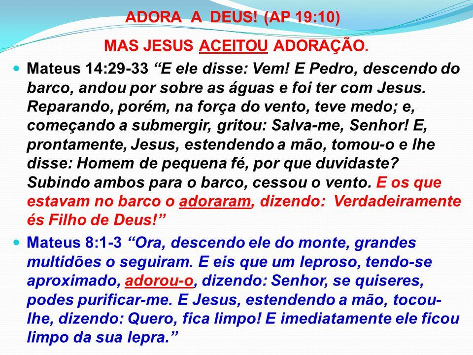 MAS JESUS ACEITOU ADORAÇÃO.