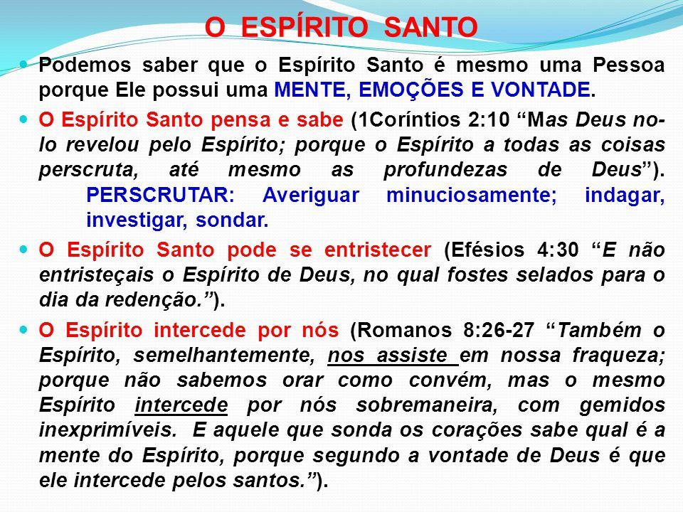 O ESPÍRITO SANTO Podemos saber que o Espírito Santo é mesmo uma Pessoa porque Ele possui uma MENTE, EMOÇÕES E VONTADE.