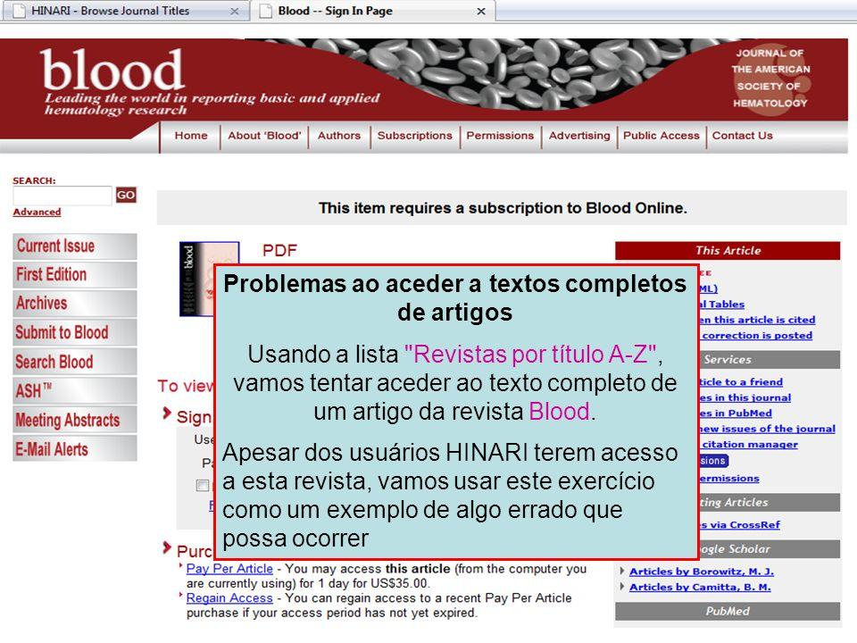 Problemas ao aceder a textos completos de artigos