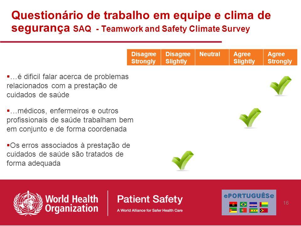 Questionário de trabalho em equipe e clima de segurança SAQ - Teamwork and Safety Climate Survey
