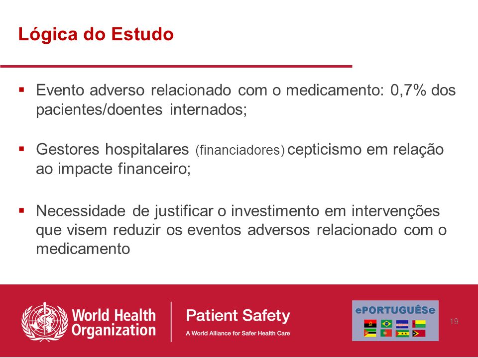 Lógica do Estudo Evento adverso relacionado com o medicamento: 0,7% dos pacientes/doentes internados;