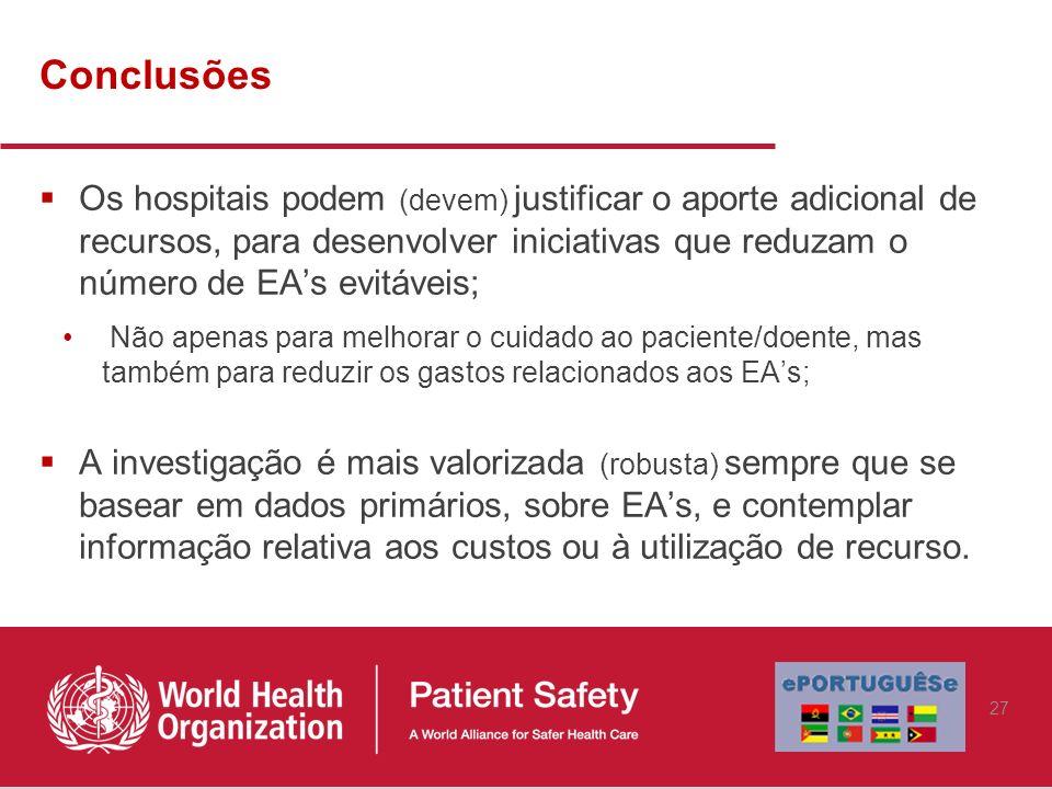 Conclusões Os hospitais podem (devem) justificar o aporte adicional de recursos, para desenvolver iniciativas que reduzam o número de EA's evitáveis;