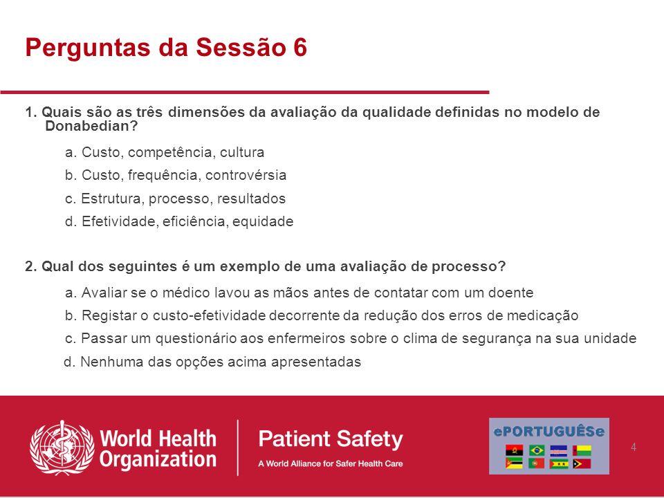 Perguntas da Sessão 6 1. Quais são as três dimensões da avaliação da qualidade definidas no modelo de Donabedian