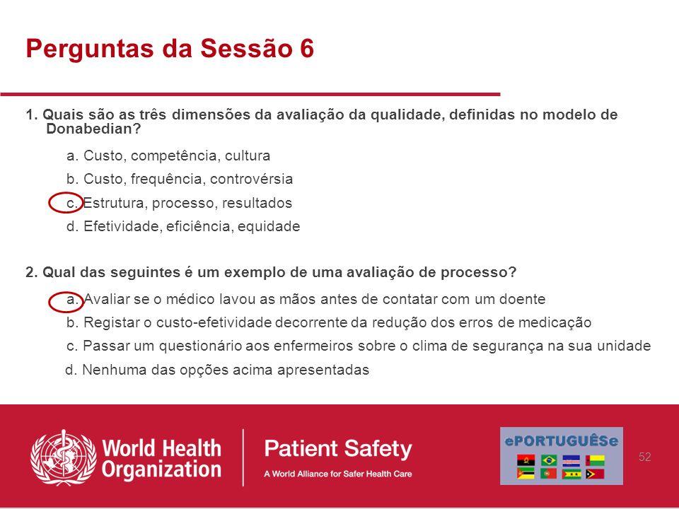 Perguntas da Sessão 6 1. Quais são as três dimensões da avaliação da qualidade, definidas no modelo de Donabedian