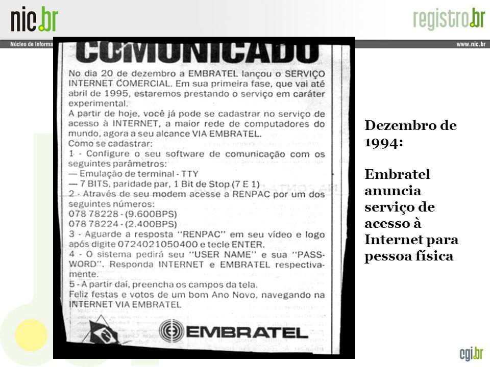 Embratel anuncia serviço de acesso à Internet para pessoa física