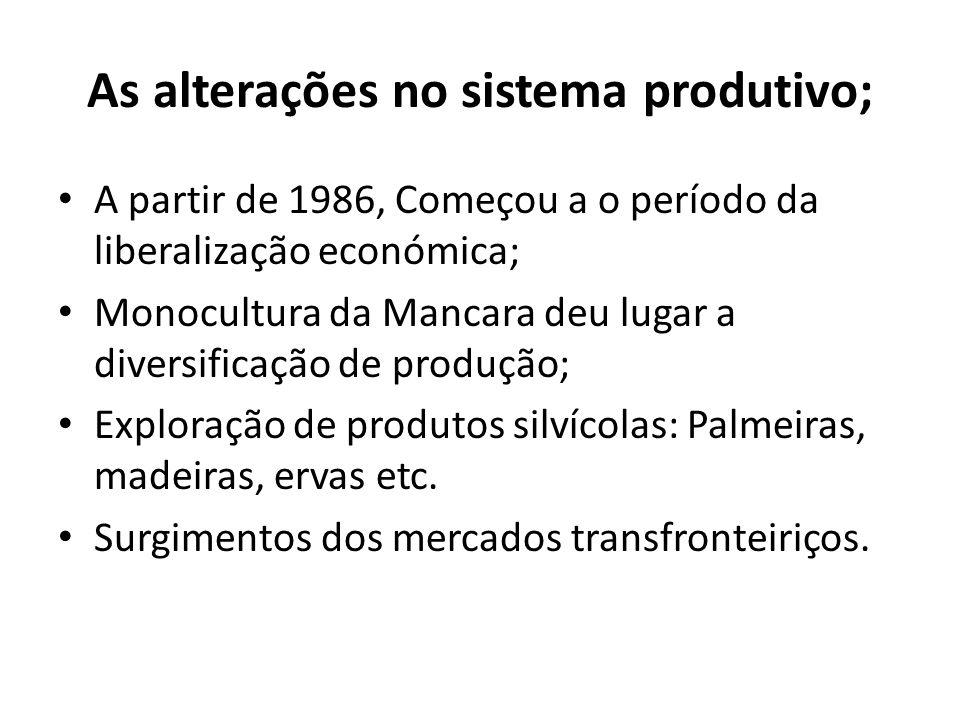 As alterações no sistema produtivo;