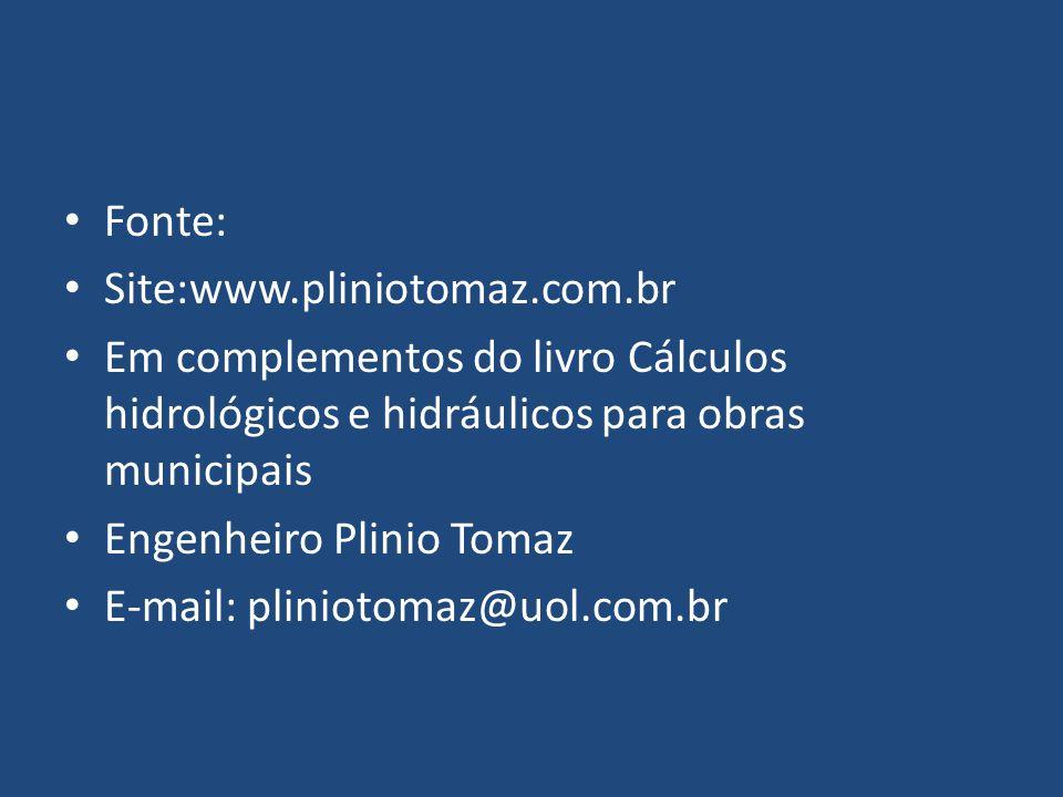 Fonte: Site:www.pliniotomaz.com.br. Em complementos do livro Cálculos hidrológicos e hidráulicos para obras municipais.