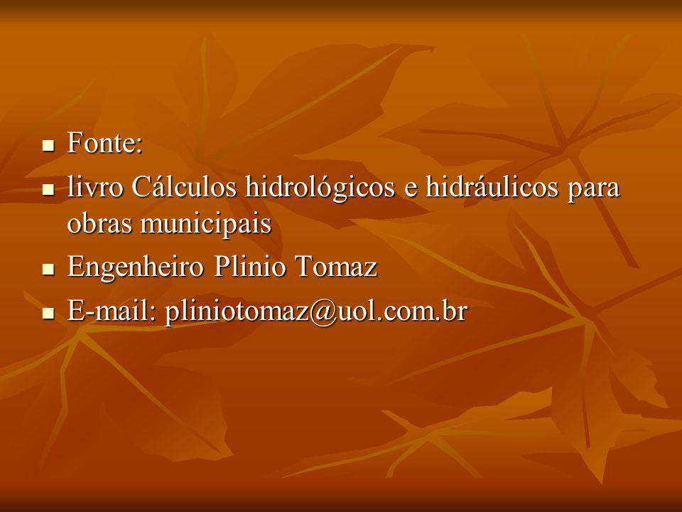 Fonte: livro Cálculos hidrológicos e hidráulicos para obras municipais.