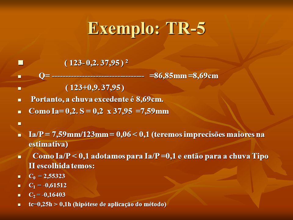 Exemplo: TR-5 ( 123- 0,2. 37,95 ) 2. Q= ---------------------------------- =86,85mm =8,69cm.