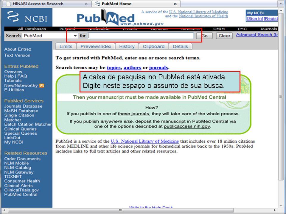 PubMed home page 3A caixa de pesquisa no PubMed está ativada.