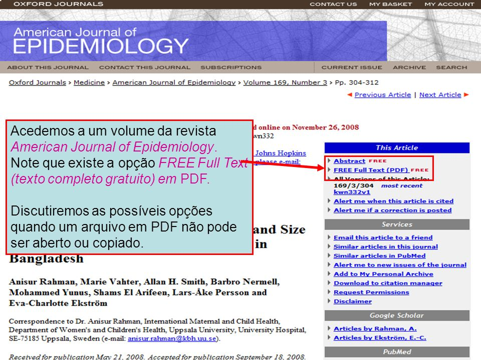 Acedemos a um volume da revista American Journal of Epidemiology
