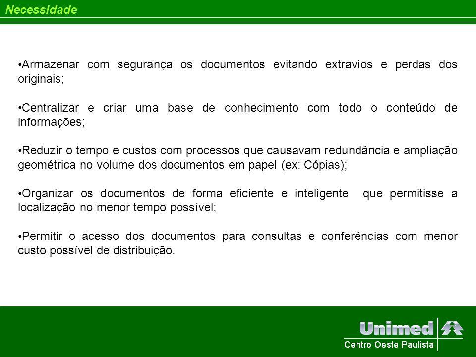 Necessidade Armazenar com segurança os documentos evitando extravios e perdas dos originais;