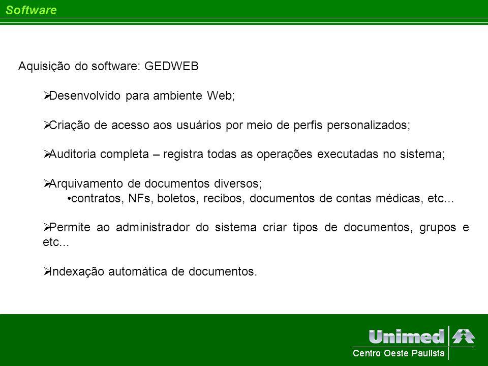 Software Aquisição do software: GEDWEB. Desenvolvido para ambiente Web; Criação de acesso aos usuários por meio de perfis personalizados;