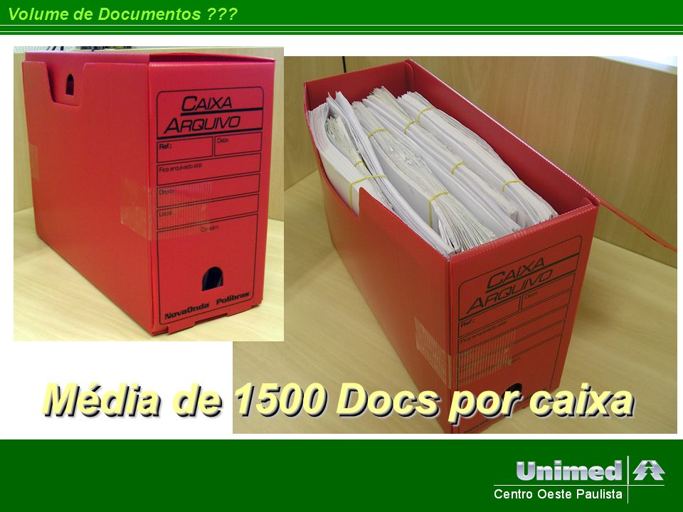 Volume de Documentos Média de 1500 Docs por caixa