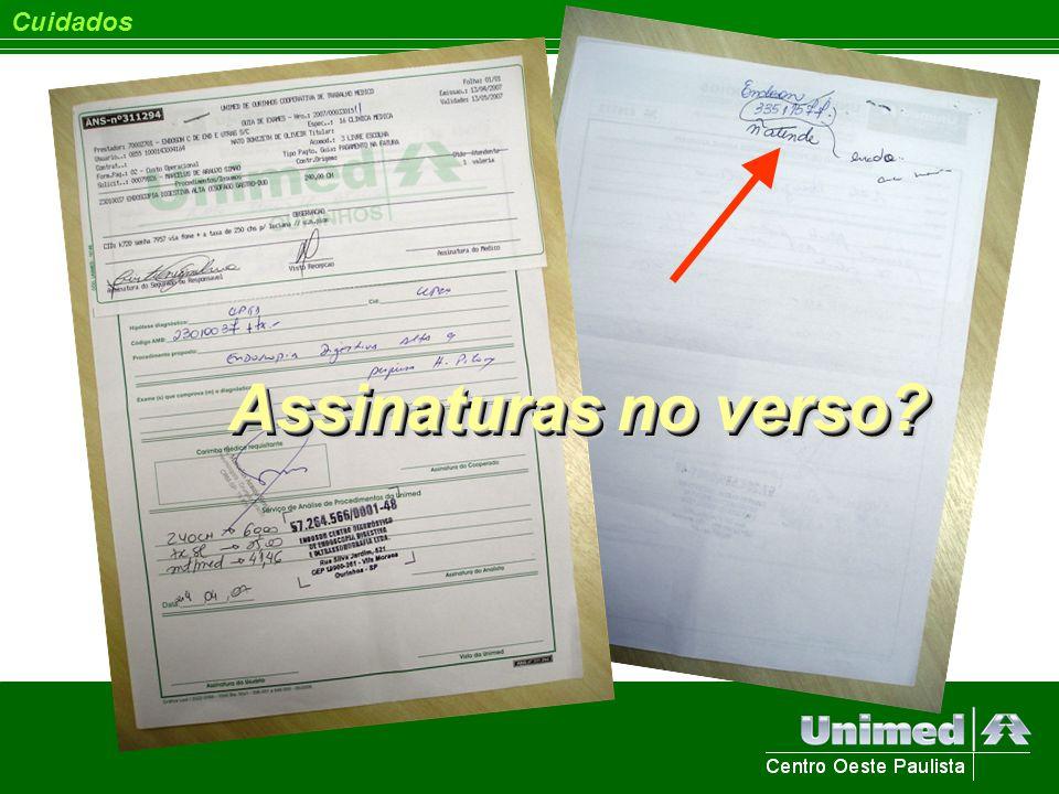 Cuidados Assinaturas no verso