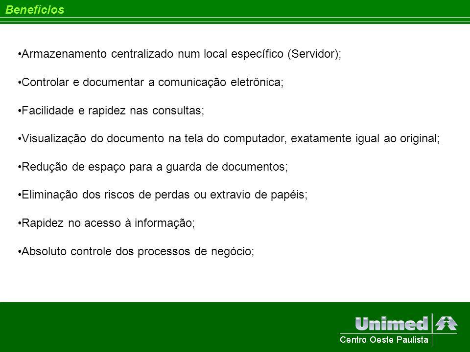 Benefícios Armazenamento centralizado num local específico (Servidor); Controlar e documentar a comunicação eletrônica;