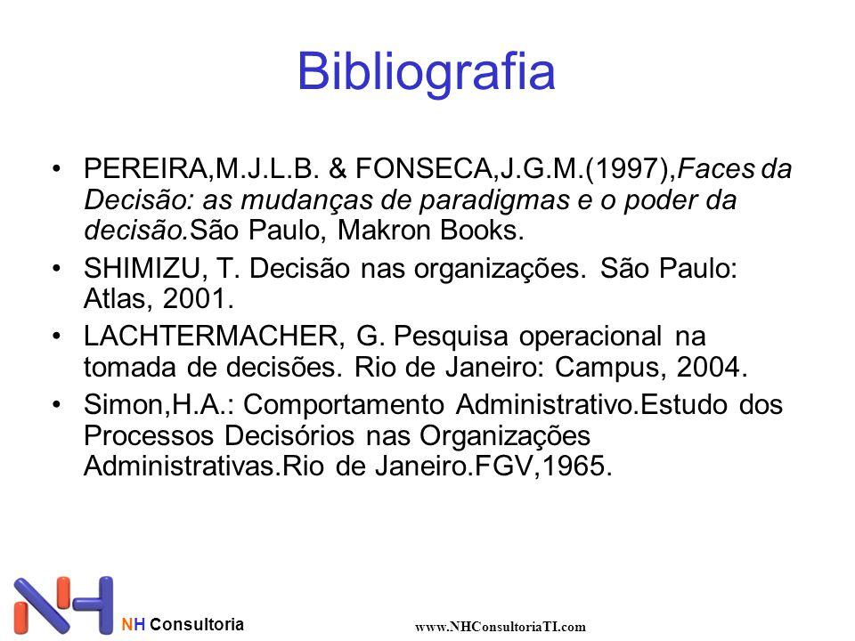 Bibliografia PEREIRA,M.J.L.B. & FONSECA,J.G.M.(1997),Faces da Decisão: as mudanças de paradigmas e o poder da decisão.São Paulo, Makron Books.