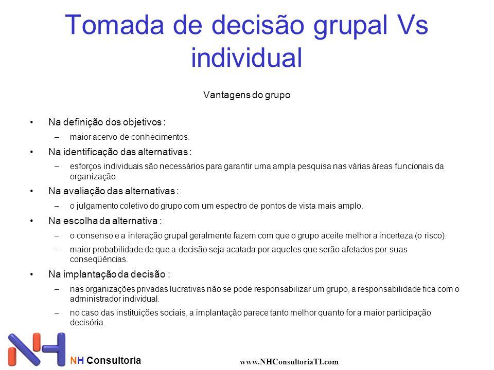 Tomada de decisão grupal Vs individual