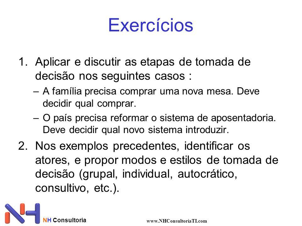 Exercícios Aplicar e discutir as etapas de tomada de decisão nos seguintes casos :