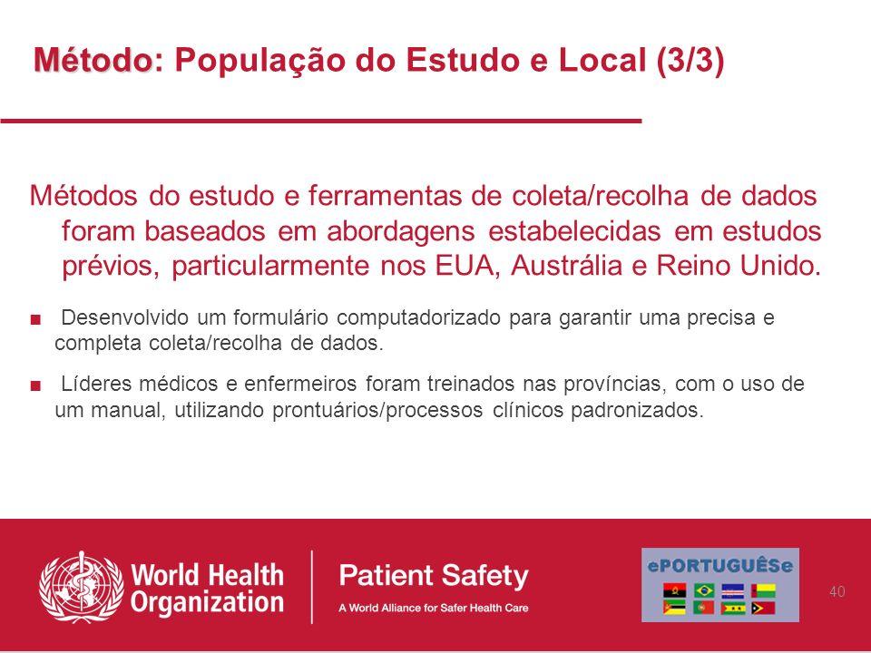 Método: População do Estudo e Local (3/3)