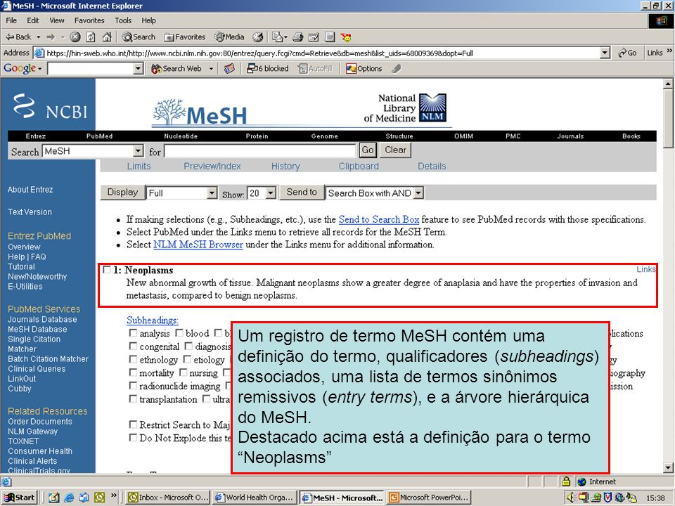 MeSH TermsThe record for a MeSH term contains a definition of the term, associated subheadings, a list of entry terms, and the tree view of MeSH.