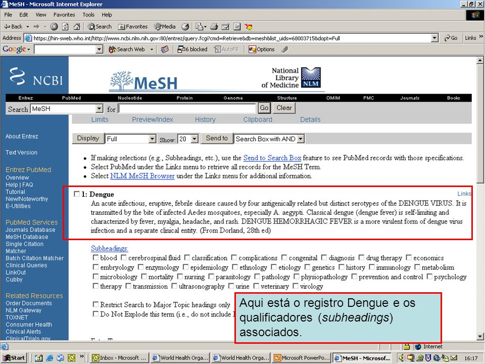 Dengue 3 Here is the Dengue record and associated subheadings.