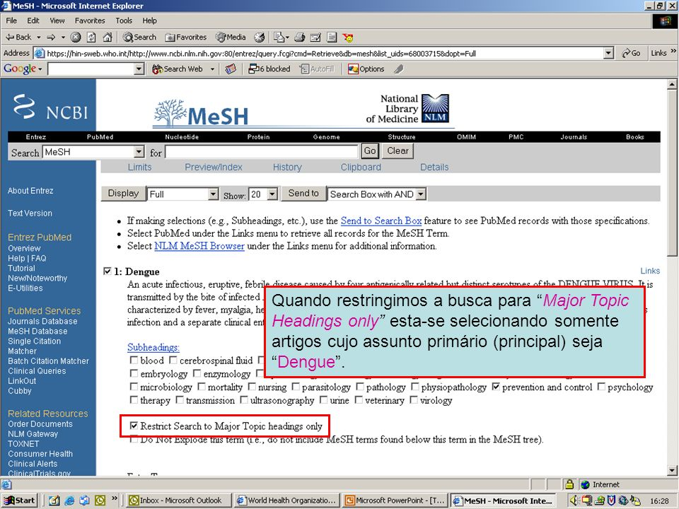 Dengue Major MeSH topic 1