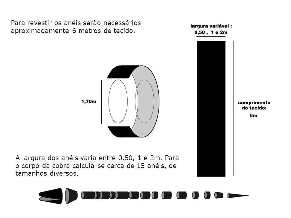 Para revestir os anéis serão necessários aproximadamente 6 metros de tecido.
