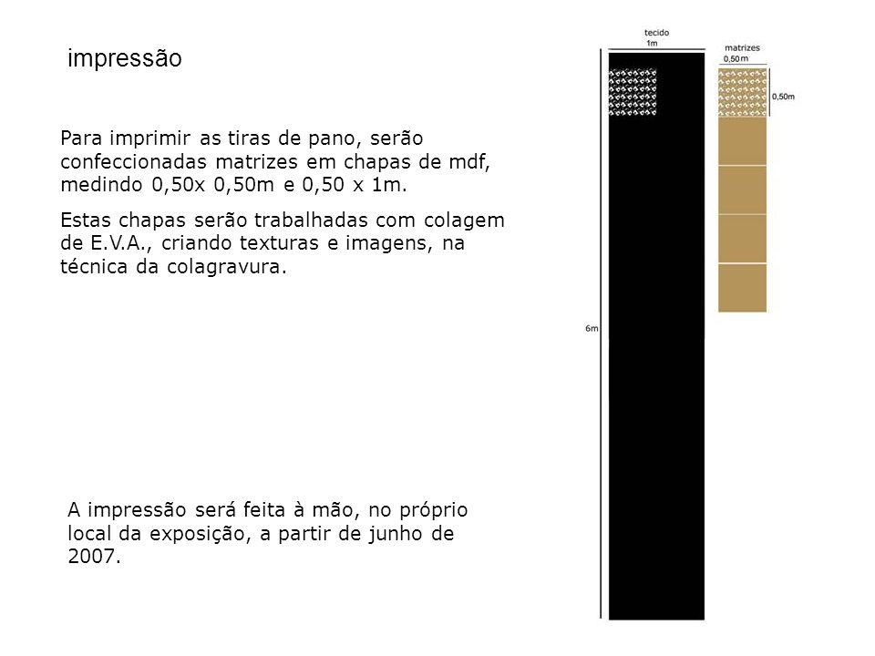 impressão Para imprimir as tiras de pano, serão confeccionadas matrizes em chapas de mdf, medindo 0,50x 0,50m e 0,50 x 1m.